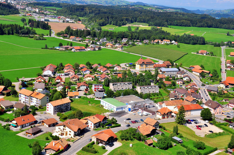 Download Swiss village stock photo. Image of above, cottages, hills - 34958094