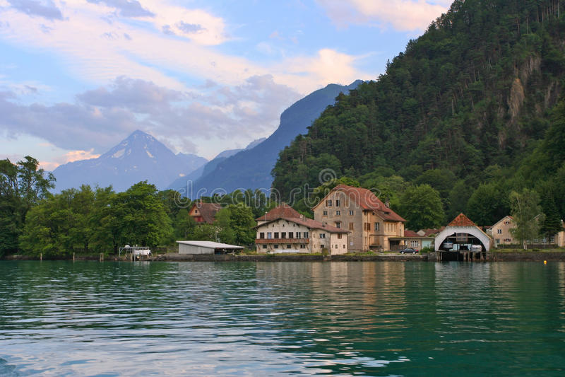 Swiss village on the lake royalty free stock image