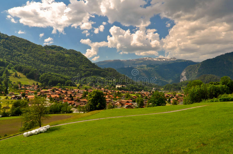 Swiss Village in Mountains stock photo