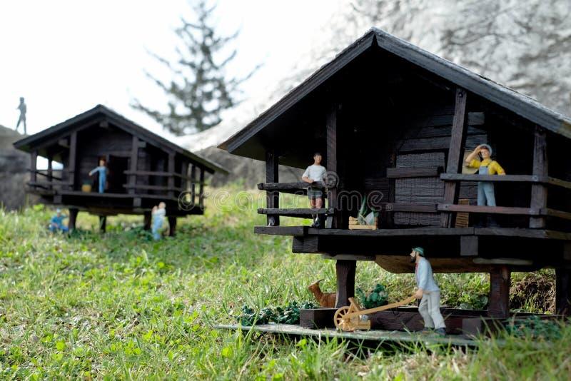 Swissminiatur park in Lugano. Miniature houses and figures at the Swissminiatur park, in Lugano, Switzerland stock photos
