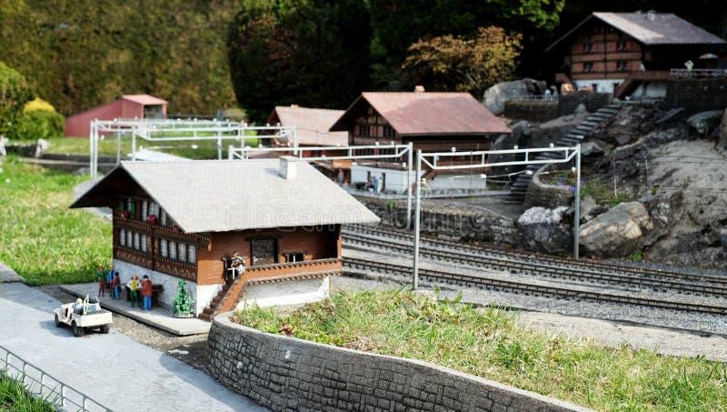 Swissminiatur Park, Lugano, Switzerland station. Train station miniature at model train Swissminiatur Park in Lugano, Switzerland royalty free stock image