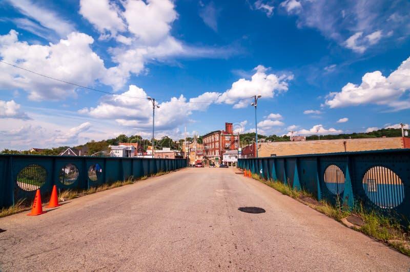 Swissvale, Pennsylvania, USA 8/18/2019 The Washington Street bridge leading into the Swissvale business district stock photo