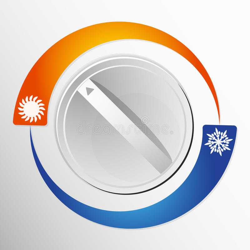Switch the air conditioner. Air conditioner switch hot and cold stock illustration