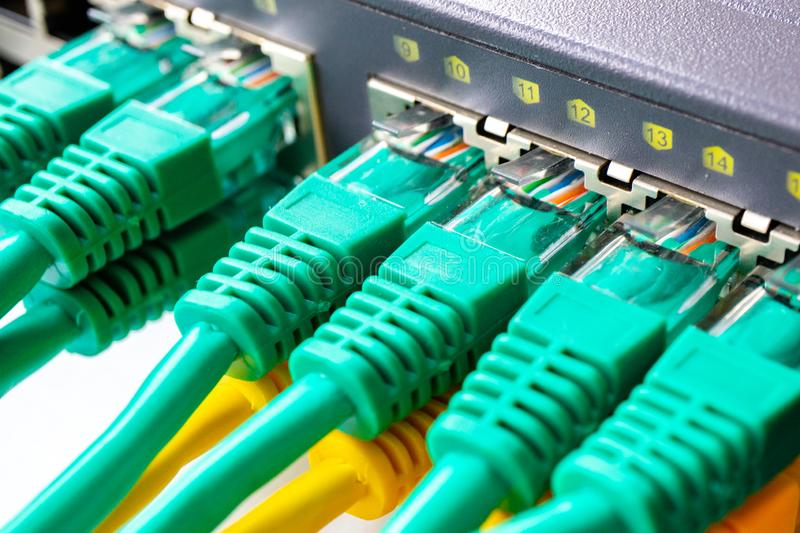 On the switch all ports are occupied by cables RJ 45 royalty free stock photo