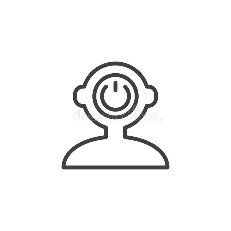 Switch off human mind outline icon royalty free illustration