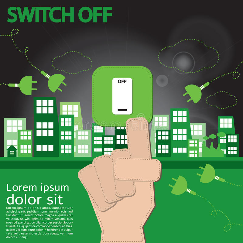 Switch Off, Sustainable Development. vector illustration