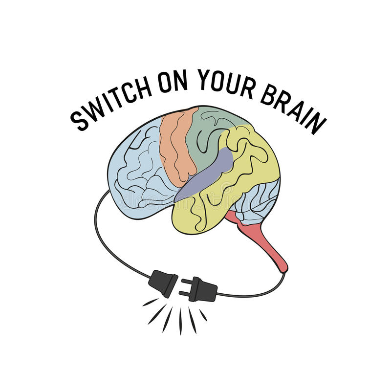 Switch on your brain vector illustration