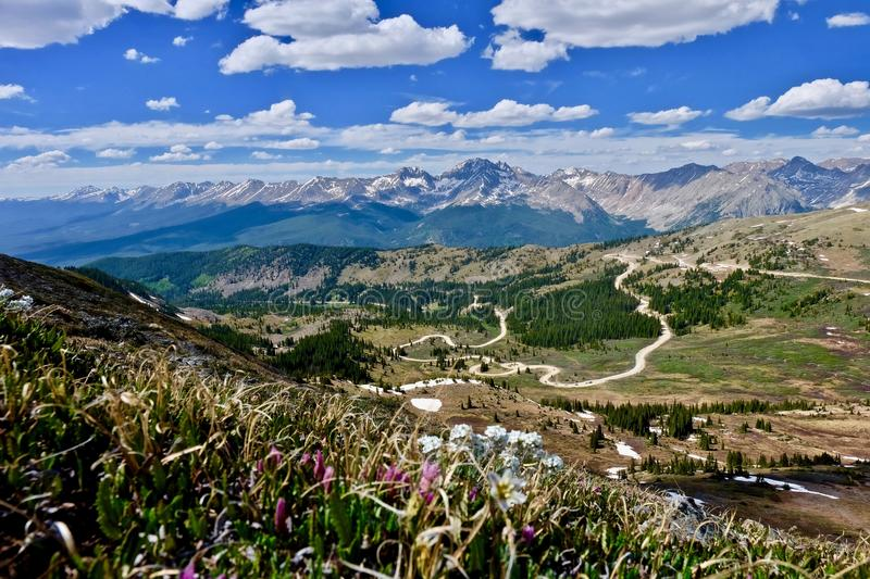 Switchbacks on winding mountain road. Cottonwood Pass near Denver and Buena Vista. Colorado. United States royalty free stock images