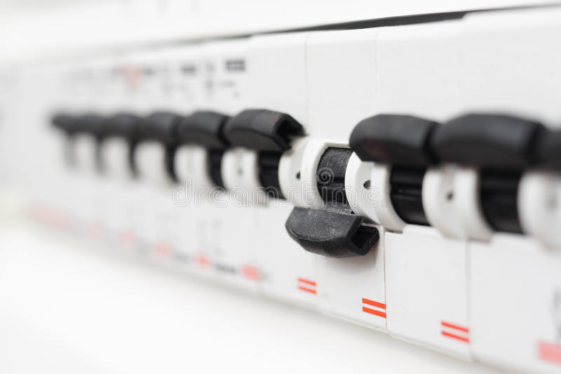 Switched off fuse in electrical box. Short circuit royalty free stock images