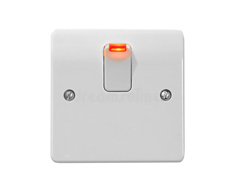 Switched on to energy. Photo of a modern light switch with neon light lit up on switch depicting switched on to energy stock photo