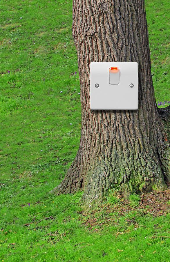 Switched on to nature. Photo of light switch in the on position connected to a tree depicting...switched on to nature,green environmental issues etc. background royalty free stock images