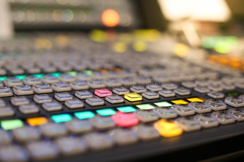 Switcher buttons in studio TV station, Audio and Video Production Switcher of Television Broadcast. royalty free stock photo