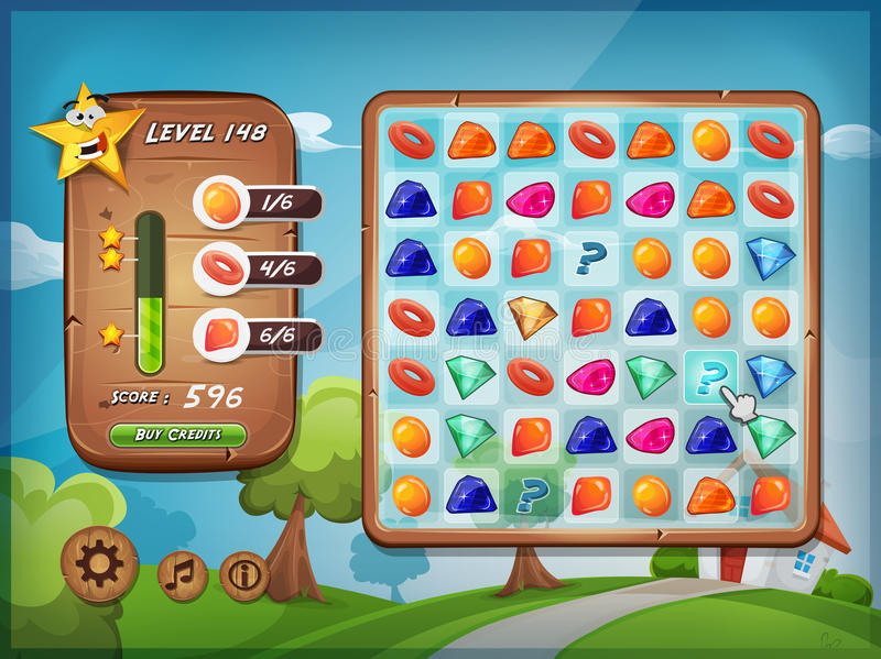Switcher Game User Interface For Tablet Pc. Illustration of a funny graphic example of switcher or clicker game interface design, in cartoon style with grid royalty free illustration