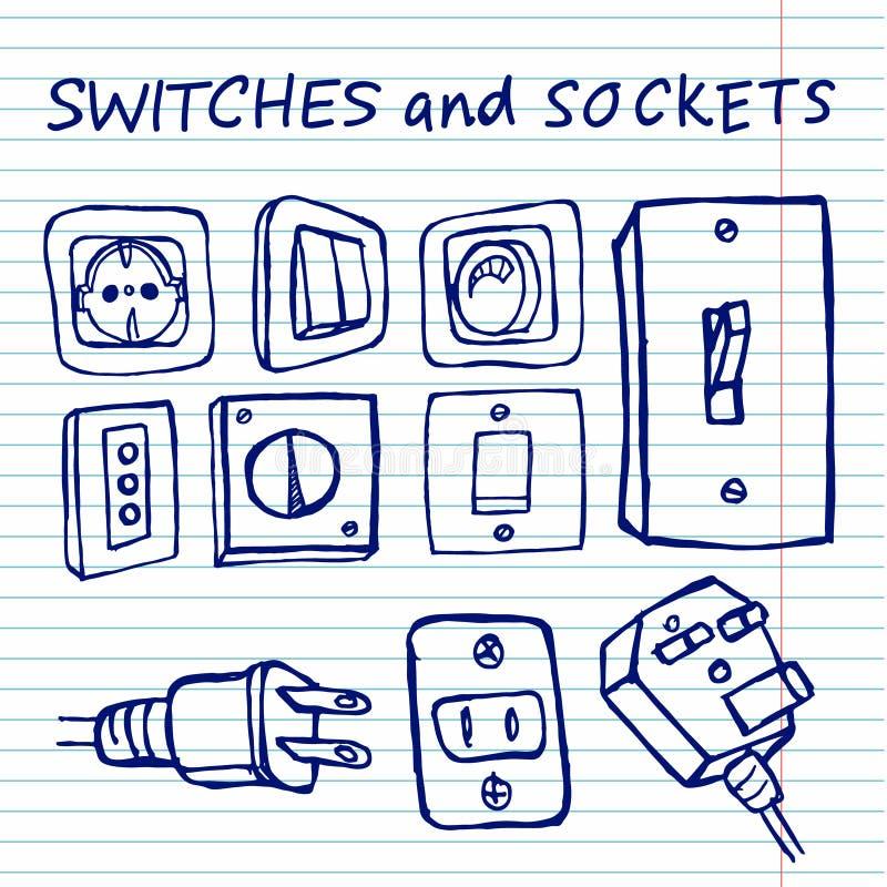 Switchers na copybook tle ilustracja wektor