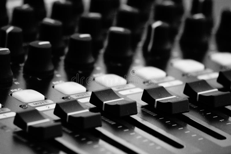 Switches B&W. B&W photo of a recording device stock photos