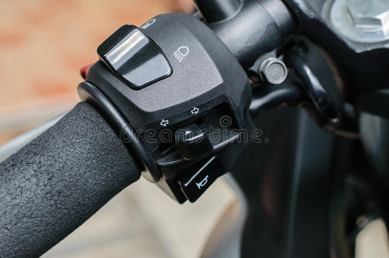 Switches function on hand bar motorcycle stock photography