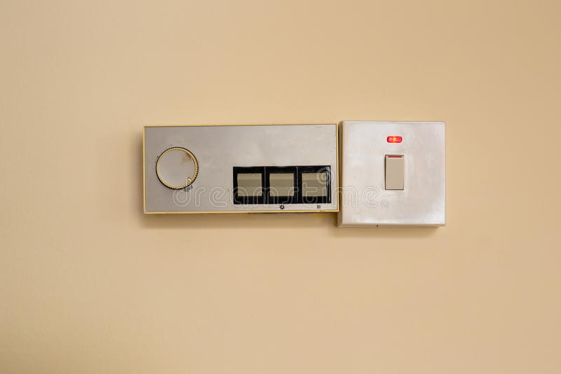 Switches for save energy concept. White light switch, turn on or turn off the lights stock photo