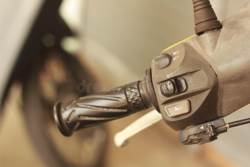 Switches for signals. On a motorcycle stock images