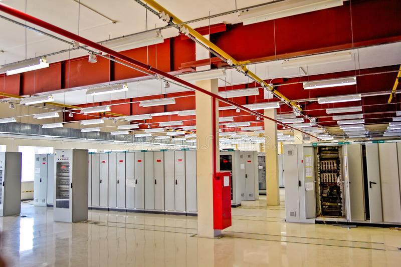 Switchgear room with cabinets with network hardware.  stock photo