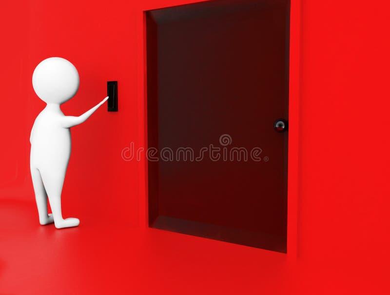 swith do impulso do homem 3d unido em uma parede próximo a um conceito fechado da porta ilustração royalty free