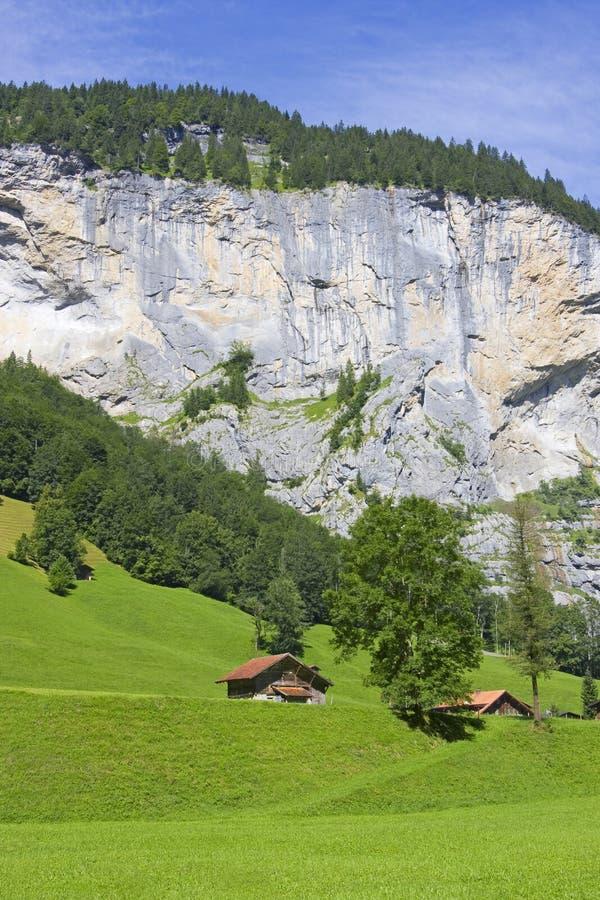 Switzerland. Little chalets in valley of Lauterbrunnen, Swiss Alps. Jungfrau region stock images