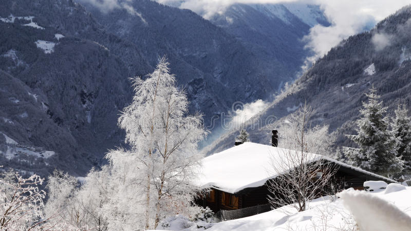 Switzerland alpine lodge stock photo