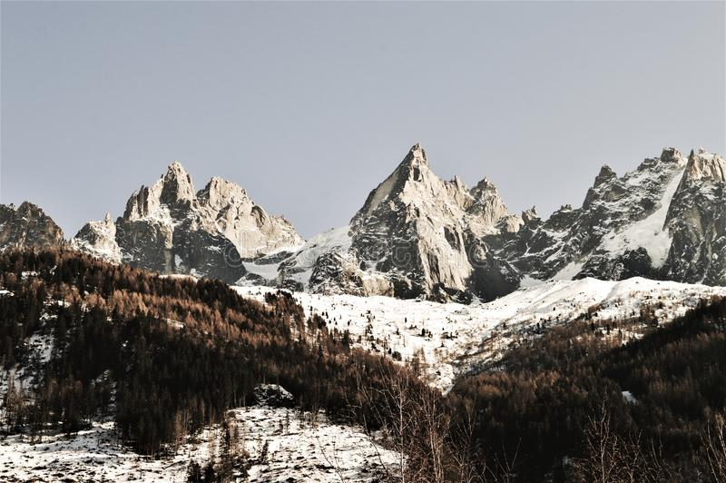 Switzerland and Alps. Winter summits of Swiss Alps, which are high peaks, famous and famous range of mountains in Switzerland. Beautiful serene landscape stock photography