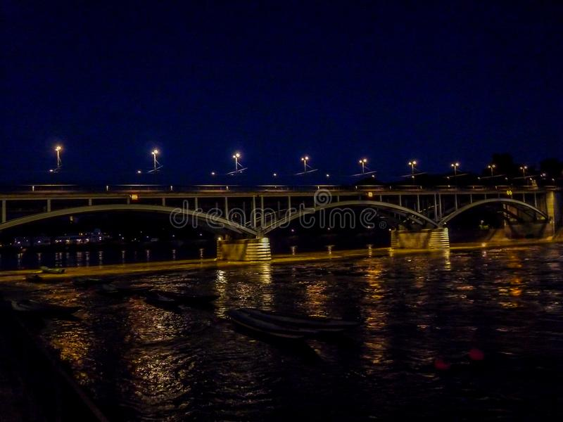 Switzerland, Basel, BRIDGE OVER Rhine RIVER AGAINST SKY IN CITY stock photo