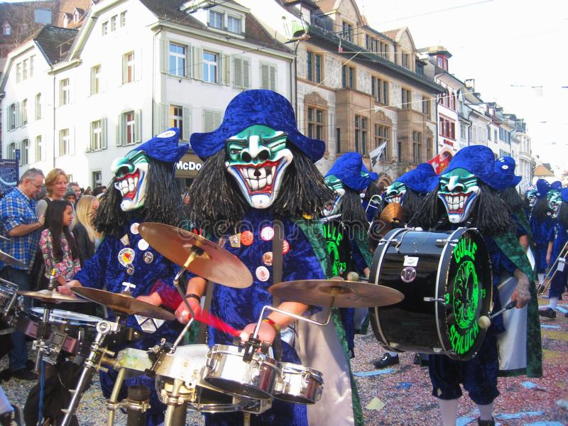 SWITZERLAND. BASEL - MARCH 10, 2014. Fastnacht a мeeting of spring stock photography