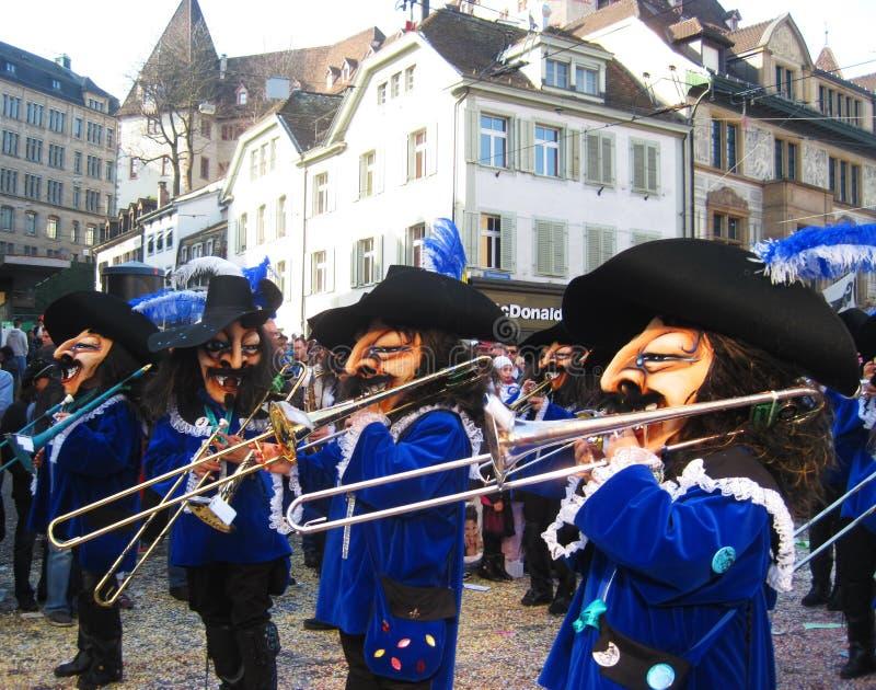 switzerland BASILEA - 10 MARZO 2014 Fastnacht eeting del ¼ di Ð della molla fotografie stock libere da diritti