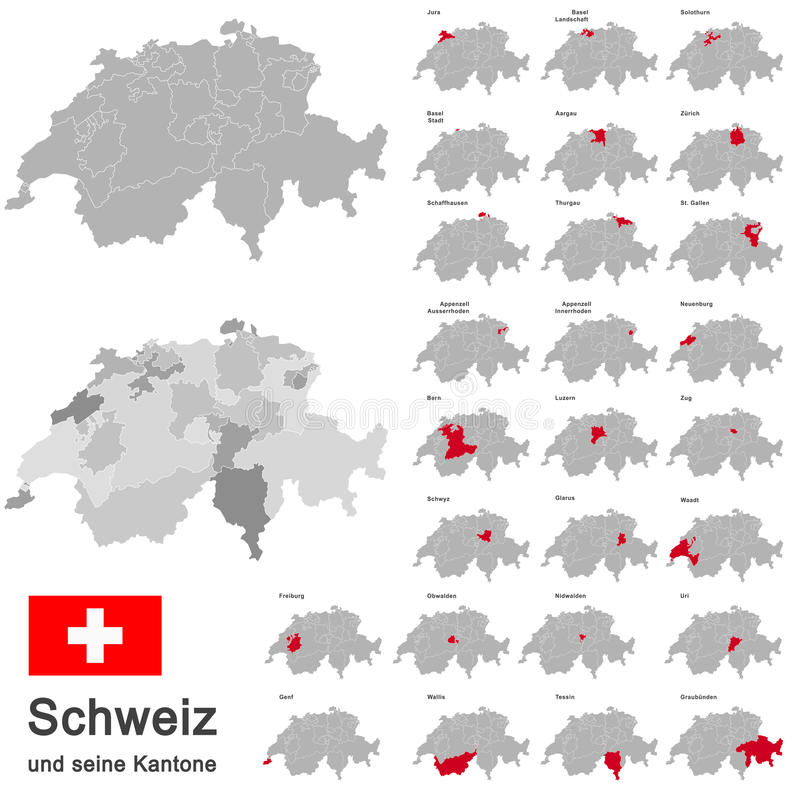 Switzerland and cantons stock illustration