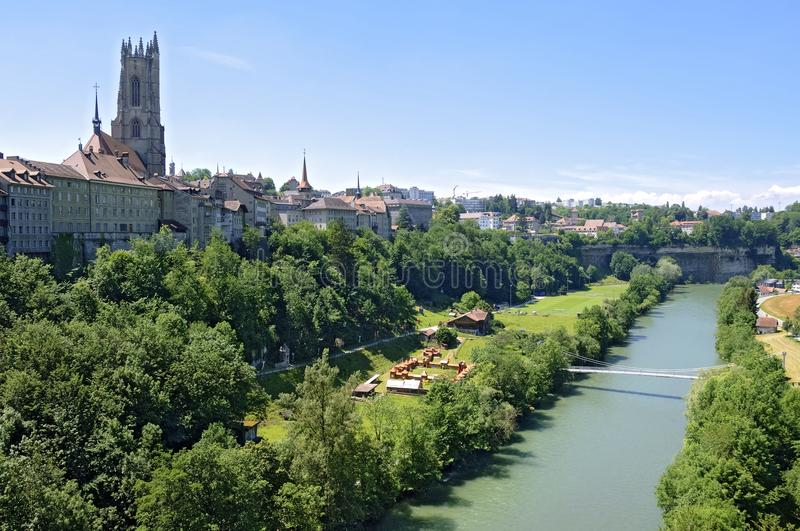 City view of upper and lower part of Fribourg royalty free stock images