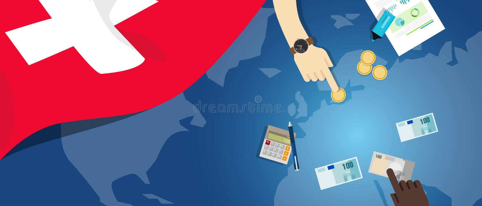 Switzerland economy fiscal money trade concept illustration of financial banking budget with flag map and currency. Switzerlandeconomy fiscal money trade concept royalty free illustration