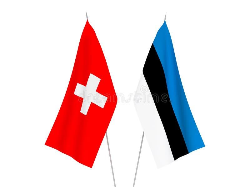 Switzerland and Estonia flags. National fabric flags of Switzerland and Estonia isolated on white background. 3d rendering illustration stock illustration