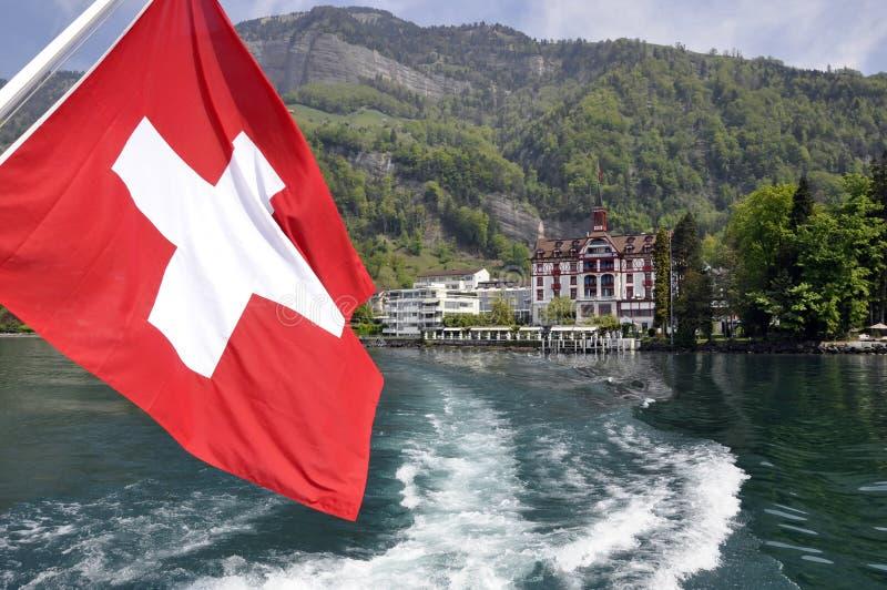 Switzerland flag boat royalty free stock image