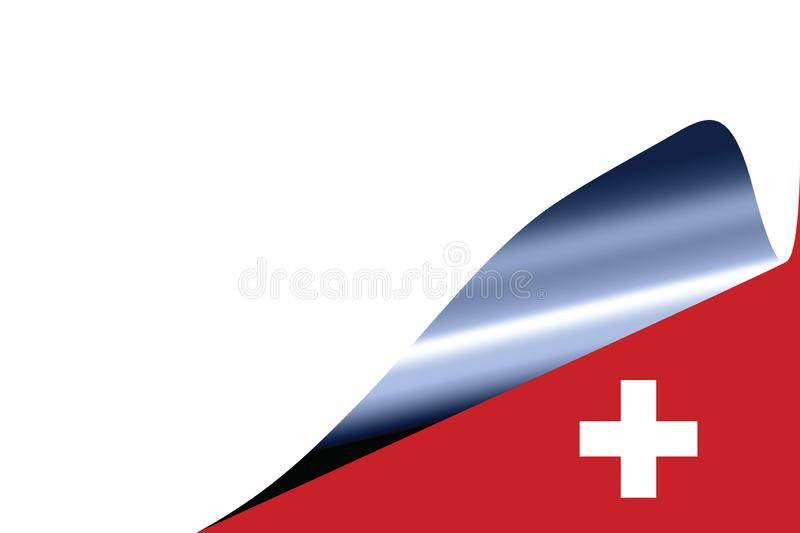 Switzerland flag on white. With curled page royalty free illustration