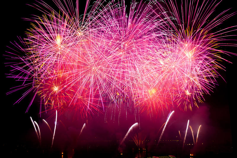 Switzerland - Geneva fireworks stock images