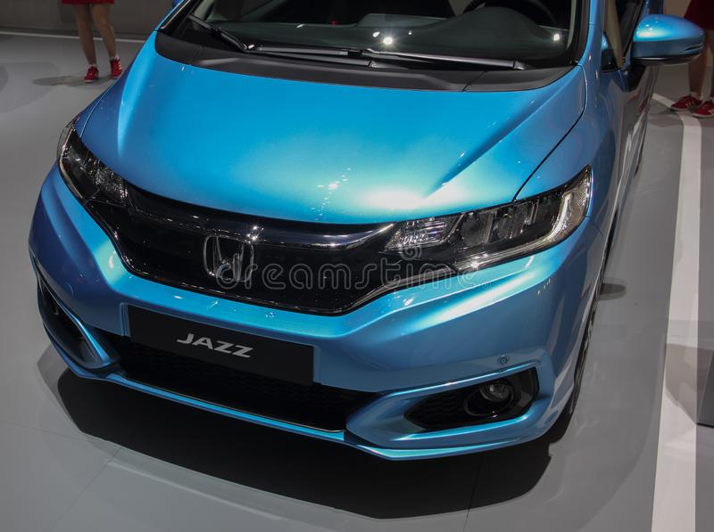 Switzerland; Geneva; March 10, 2018; Blue Honda Jazz front; The 88th International Motor Show in Geneva from 8th to 18th of March royalty free stock photos