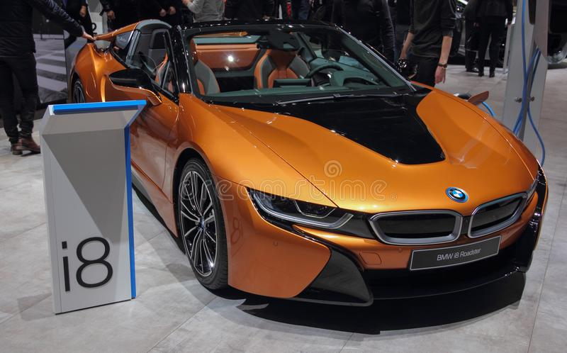 Switzerland; Geneva; March 8, 2018; The BMW i8 Roadster front; T. He 88th International Motor Show in Geneva from 8th to 18th of March, 2018 stock photography