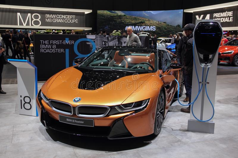 Switzerland; Geneva; March 8, 2018; The BMW i8 Roadster front wi. Th electric charger; The 88th International Motor Show in Geneva from 8th to 18th of March stock image