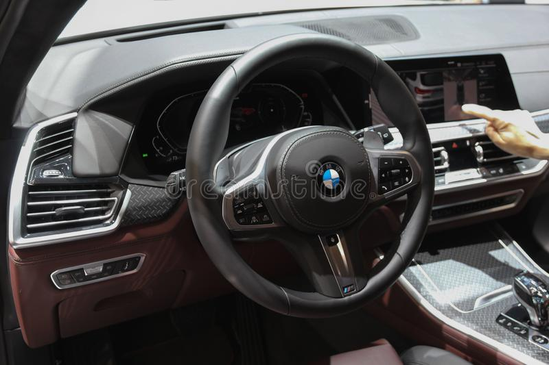 Switzerland; Geneva; March 11, 2019; BMW X5 interior; The 89th International Motor Show in Geneva from 7th to 17th of March, 2019 stock photos