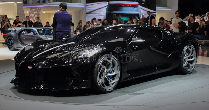 Switzerland; Geneva; March 10, 2019; Bugatti - La Voiture Noire, front view; The 89th International Motor Show in Geneva from 7th. To 17th of March, 2019 royalty free stock image