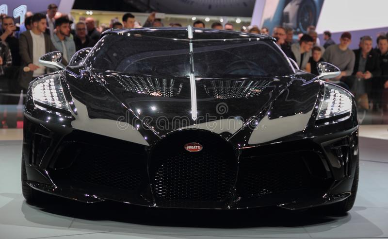 Switzerland; Geneva; March 10, 2019; Bugatti - La Voiture Noire front view; The 89th International Motor Show in Geneva from 7th. To 17th of March, 2019 royalty free stock photos