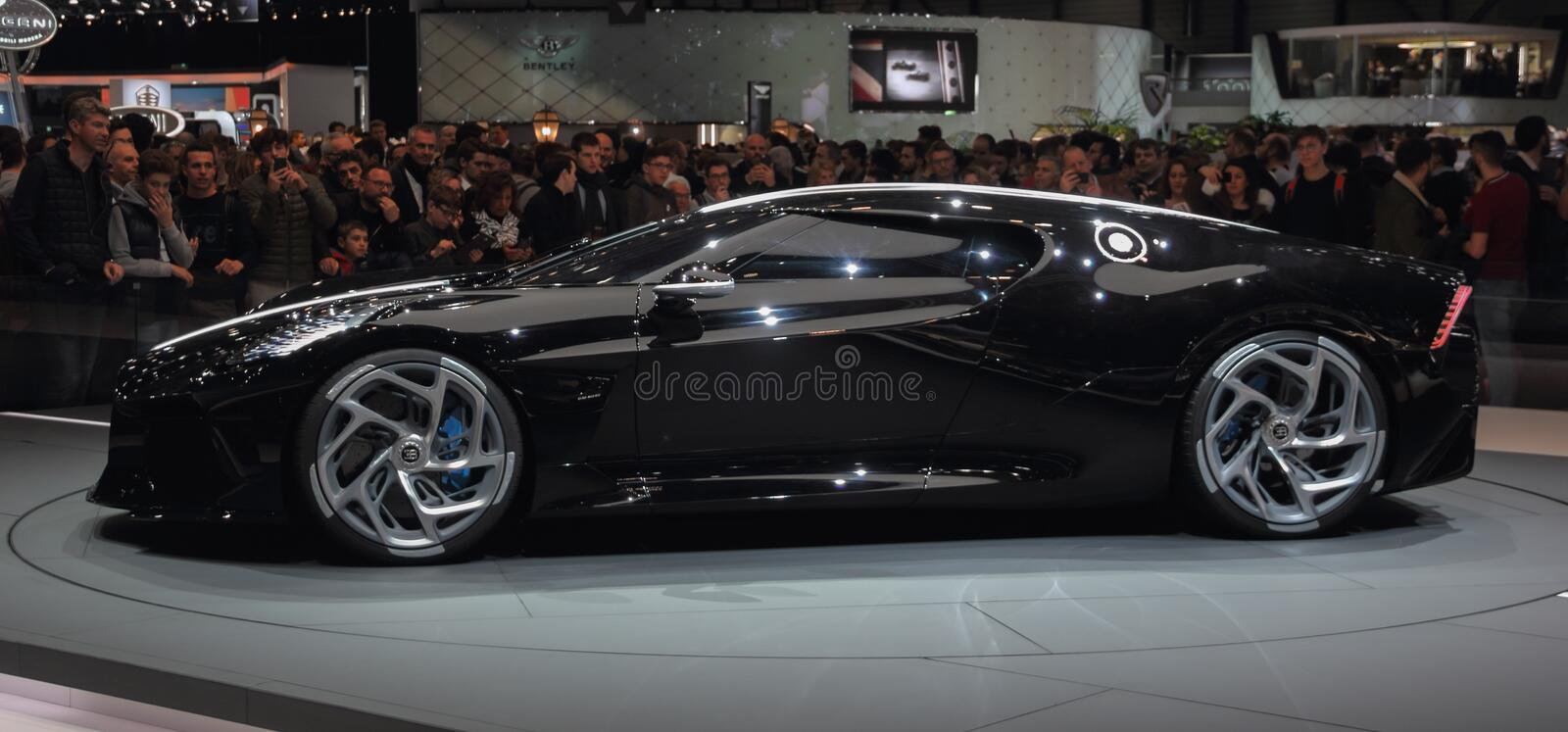 Switzerland; Geneva; March 10, 2019; Bugatti - La Voiture Noire, left profile view; The 89th International Motor Show in Geneva. From 7th to 17th of March, 2019 stock images