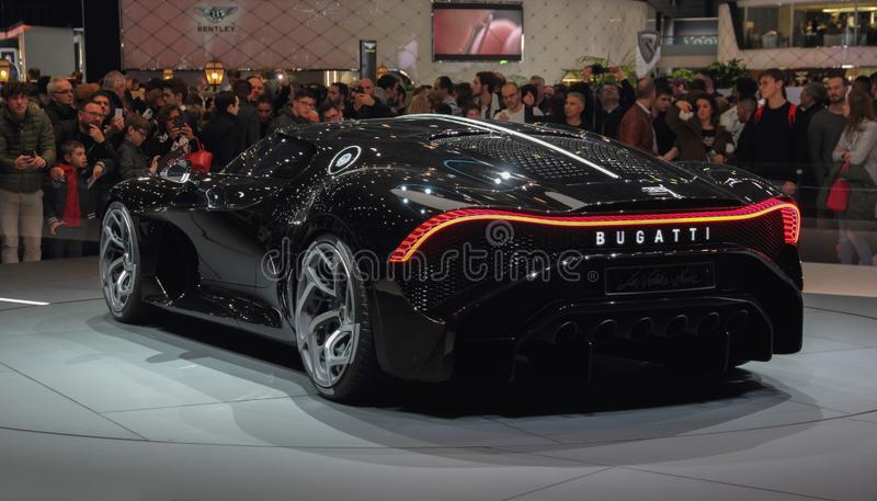 Switzerland; Geneva; March 10, 2019; Bugatti - La Voiture Noire, left profile view; The 89th International Motor Show in Geneva. From 7th to 17th of March, 2019 royalty free stock photo