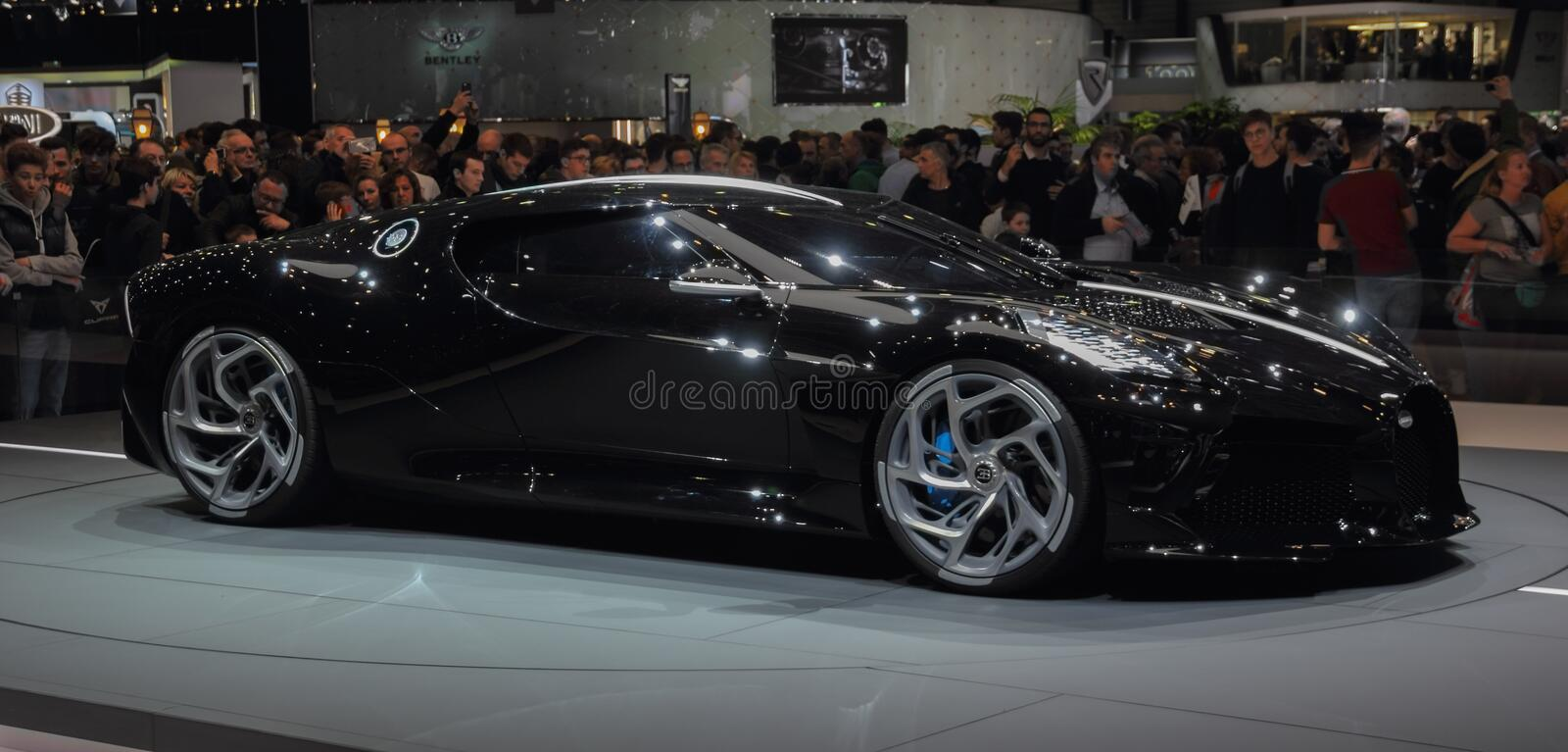 Switzerland; Geneva; March 10, 2019; Bugatti - La Voiture Noire, profile view; The 89th International Motor Show in Geneva from. 7th to 17th of March, 2019 stock photos