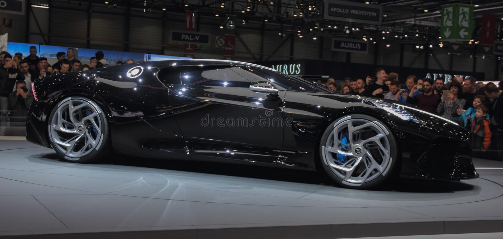 Switzerland; Geneva; March 10, 2019; Bugatti - La Voiture Noire profile view; The 89th International Motor Show in Geneva from 7th. To 17th of March, 2019 royalty free stock photo