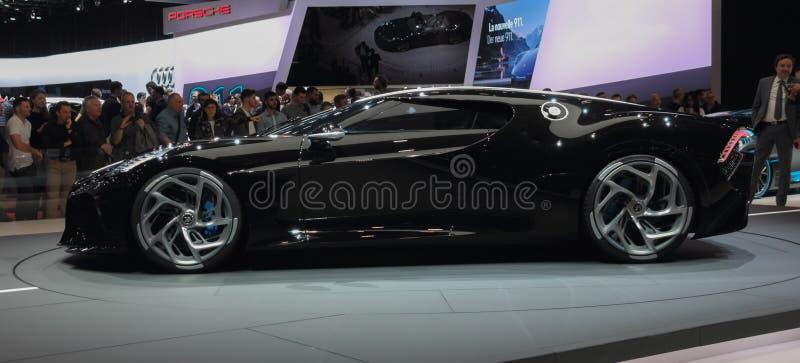 Switzerland; Geneva; March 10, 2019; Bugatti - La Voiture Noire profile view; The 89th International Motor Show in Geneva from 7th. To 17th of March, 2019 stock photo