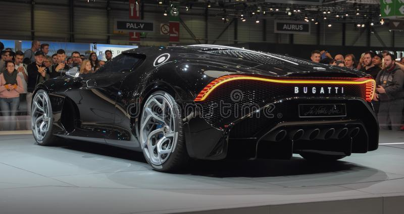 Switzerland; Geneva; March 10, 2019; Bugatti - La Voiture Noire, rear view; The 89th International Motor Show in Geneva from 7th. To 17th of March, 2019 royalty free stock image