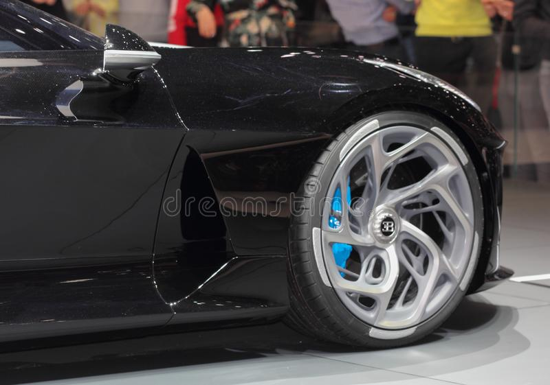Switzerland; Geneva; March 10, 2019; Bugatti - La Voiture Noire right front wheel; The 89th International Motor Show in Geneva. From 7th to 17th of March, 2019 royalty free stock images